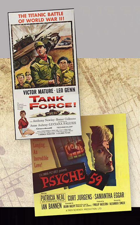 This is a picture of Posters of Films whose Music was written by Kenneth V. Jones